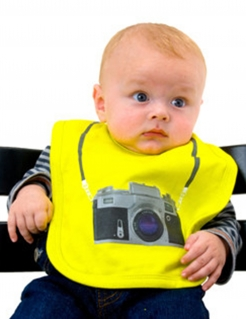 Babylatz Kamera Print gelb-grau 39x23cm