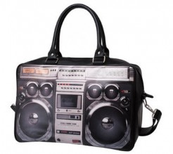 80er Ghettoblaster Handtasche schwarz-grau-weiss