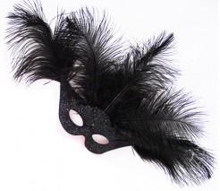 Venezianische Augenmasken in Schwarz mit Federn schwarz