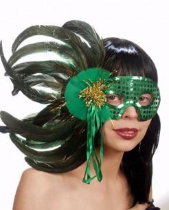 Venezianische Maske mit Federn grün