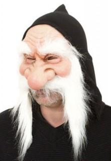 Zwerg Maske mit Bart hautfarben-weiss