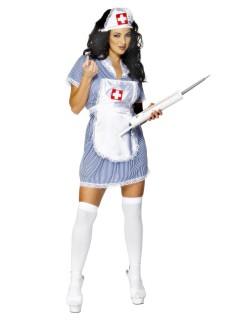 Krankenschwester Damenkostüm blau-weiss