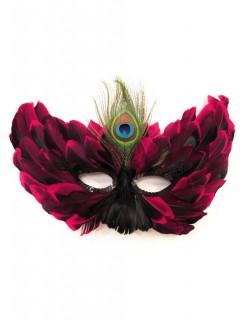 Venezianische Maske mit Federn schwarz-pink