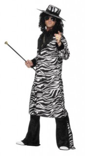 Pimp King Herrenkostüm Zebra-Look schwarz-weiss