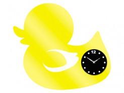 Enten-Uhr mit Aufklebern gelb-schwarz 38x50cm