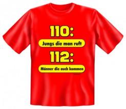 Funshirt 110: Jungs die man ruft Feuerwehr T-Shirt rot-gelb