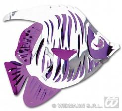 3D Hängedeko Fisch lila-weiss 40x34cm
