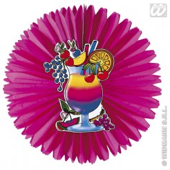 Waben-Fächer Hawaii Party-Deko pink-bunt 50cm