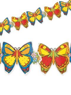 Girlande Schmetterlinge Sommerparty-Deko bunt 3m