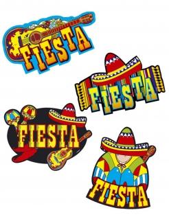 Mexiko Partydeko 4er Set bunt