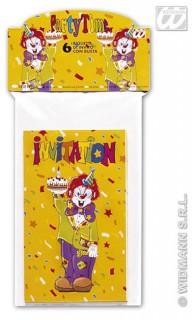 Einladungskarten Zirkus 6 Stück bunt
