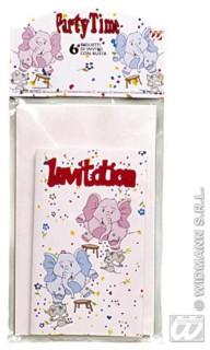 Elefant Einladungskarten 6 Stück bunt
