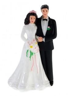 Hochzeitstorte Tortenfigur Tortendekoration Paar schwarz-weiss 7cm