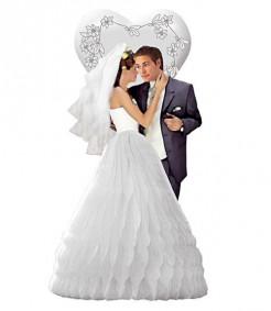 Hochzeit Wabendeko Brautpaar schwarz-weiss 29cm