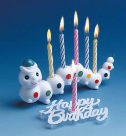 Geburtstagskerzen-Halter Raupe mit 6 Kerzen bunt