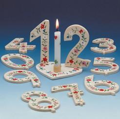 Geburtstag-Deko Zahl 6 Tischdeko weiss-grün-rot 6x9cm