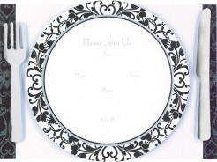 Barock Einladungskarten Motto Party 8 Stück schwarz-weiss