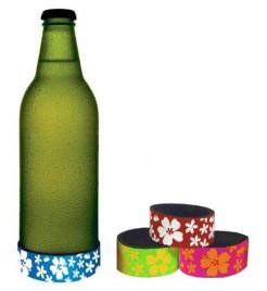 Hawaii Blüten-Untersetzer für Flaschen Party-Zubehör bunt 6,5cm