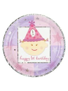 1. Geburtstag Party-Teller Party-Deko Kindergeburtstag 8 Stück pink 23cm