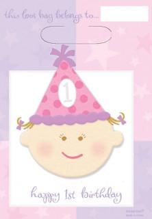 1. Geburtstag Geschenktaschen Party-Deko Kindergeburtstag pink 8 Stück 16,5x24,5cm
