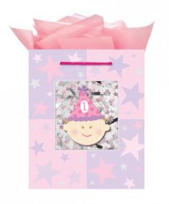 1. Geburtstag Geschenk-Tasche Kindergeburtstag pink 24x20x11cm