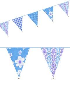 Wimpel-Girlande Blumen und Ornamente Party-Deko hellblau-weiss 6mx30cm