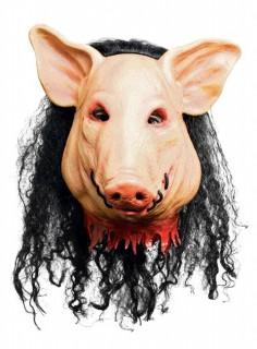 Original Saw Horror Schweine-Maske Lizenzware hautfarben-schwarz-rot