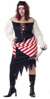 Piratin Kostüm Ruby Red schwarz-weiss-rot