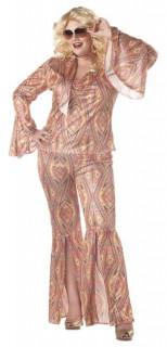 Disco-Kostüm Rainbow für Damen XXL-Kostüm bunt