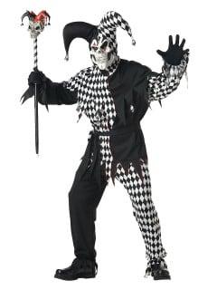 Böser Clown-Kostüm für Herren Harlekin Halloween-Kostüm schwarz-weiss