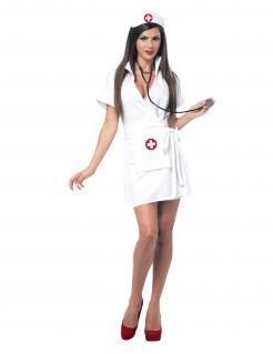 Kurzes Krankenschwester Kostüm weiss