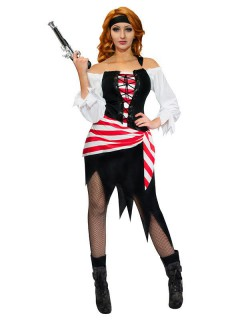 Piratin Damenkostüm Seeräuberin schwarz-weiss-rot
