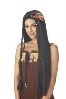 Indianerin Langhaar-Perücke braun