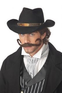 Gezwirbelter Cowboy Bart Schnurrbart braun
