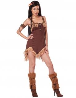 Indianerin Damenkostüm Western dunkelbraun