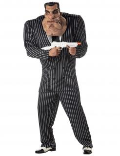 Witziges Mafiosi-Kostüm Gangster-Kostüm mit Riesen-Maske schwarz