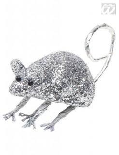 Glitter Halloween Maus silber 23,5x4,5x5cm