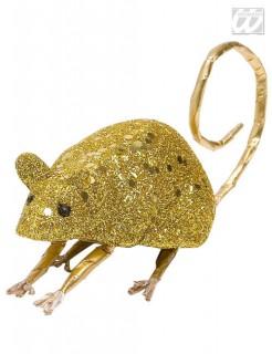 Glitter Halloween Maus gold 23,5x4,5x5cm
