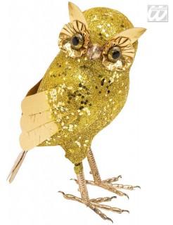 Glitter Halloween Eule gold 19x10x9cm
