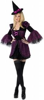 Edles Hexenkleid Zauberin Damenkostüm schwarz-lila