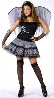 Punk Fee Gothic Halloween-Damenkostüm schwarz-pink