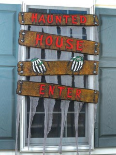 Haunted House Halloween-Fenster-Deko braun-grau 95x39cm
