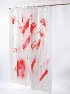 Blutiger Duschvorhang Halloween-Deko weiss-rot 178x183cm