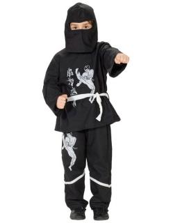 Ninja Kinder Kostüm schwarz-weiss