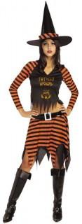 Süsse Zauberin Hexe Damenkostüm schwarz-orange