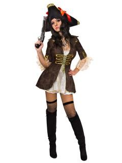 Piratenbraut Kostüm braun-beige-gold