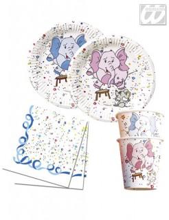 Kindergeburtstag Tisch Set Elefant weiss-blau-rosa