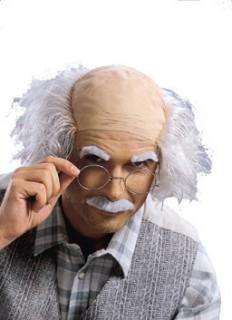 Verrückter Erfinder Perücke Bart und Augenbrauen Set haut-weiss