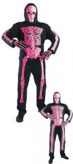 Neon Skelett Halloween-Kostüm schwarz-pink