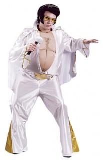 Fat King Rock'n'Roll Herrenkostüm weiss-gold